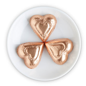 Dark Chocolate Bronze Foiled Hearts - Edelweiss Chocolates