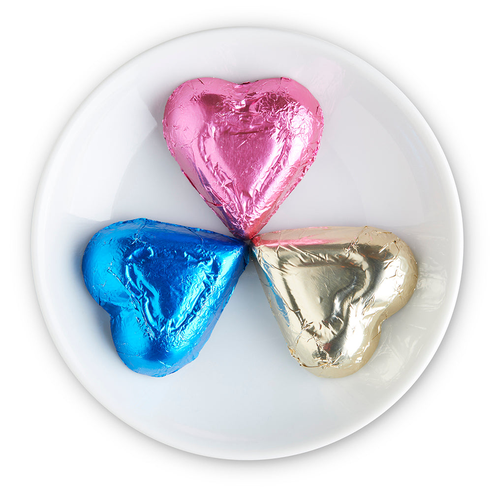Milk Chocolate Rainbow Foiled Hearts - Edelweiss Chocolates