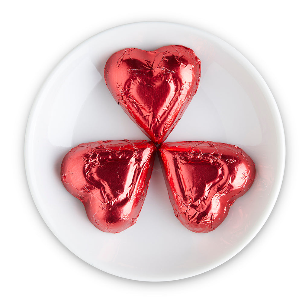 Milk Chocolate Red Foiled Hearts - Edelweiss Chocolates