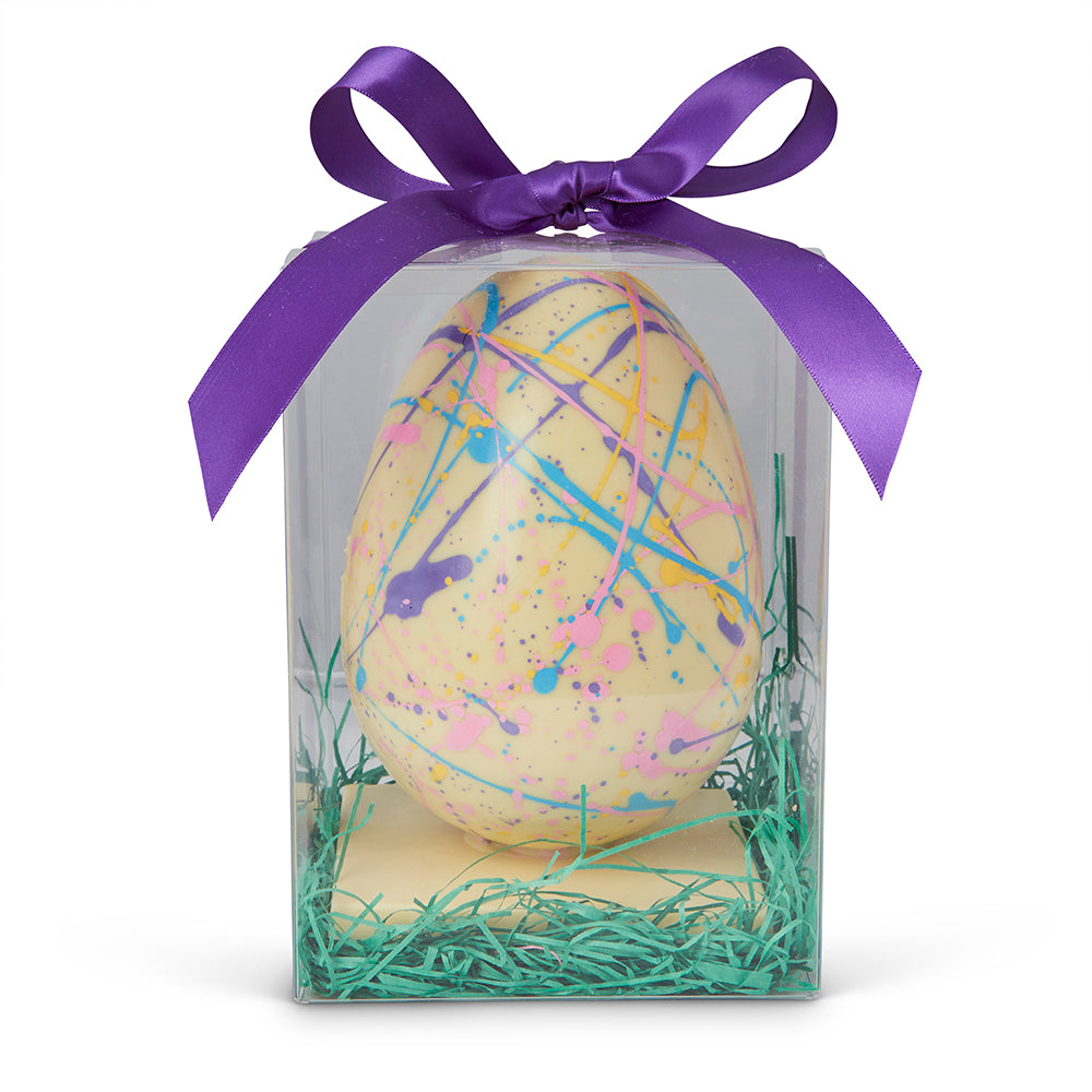 Handmade White Chocolate Speckled Easter Egg - Edelweiss Chocolates