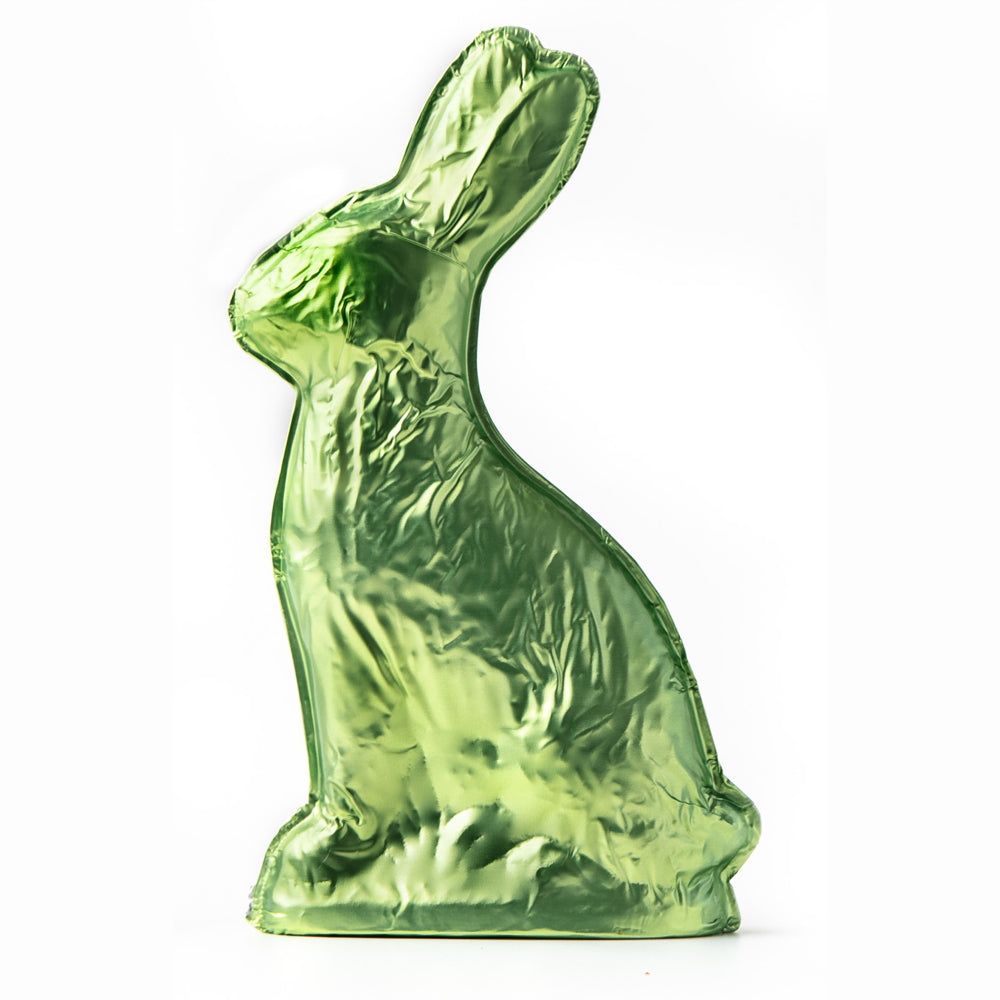 Green Milk Chocolate Foiled Bunny (15oz) - Edelweiss Chocolates