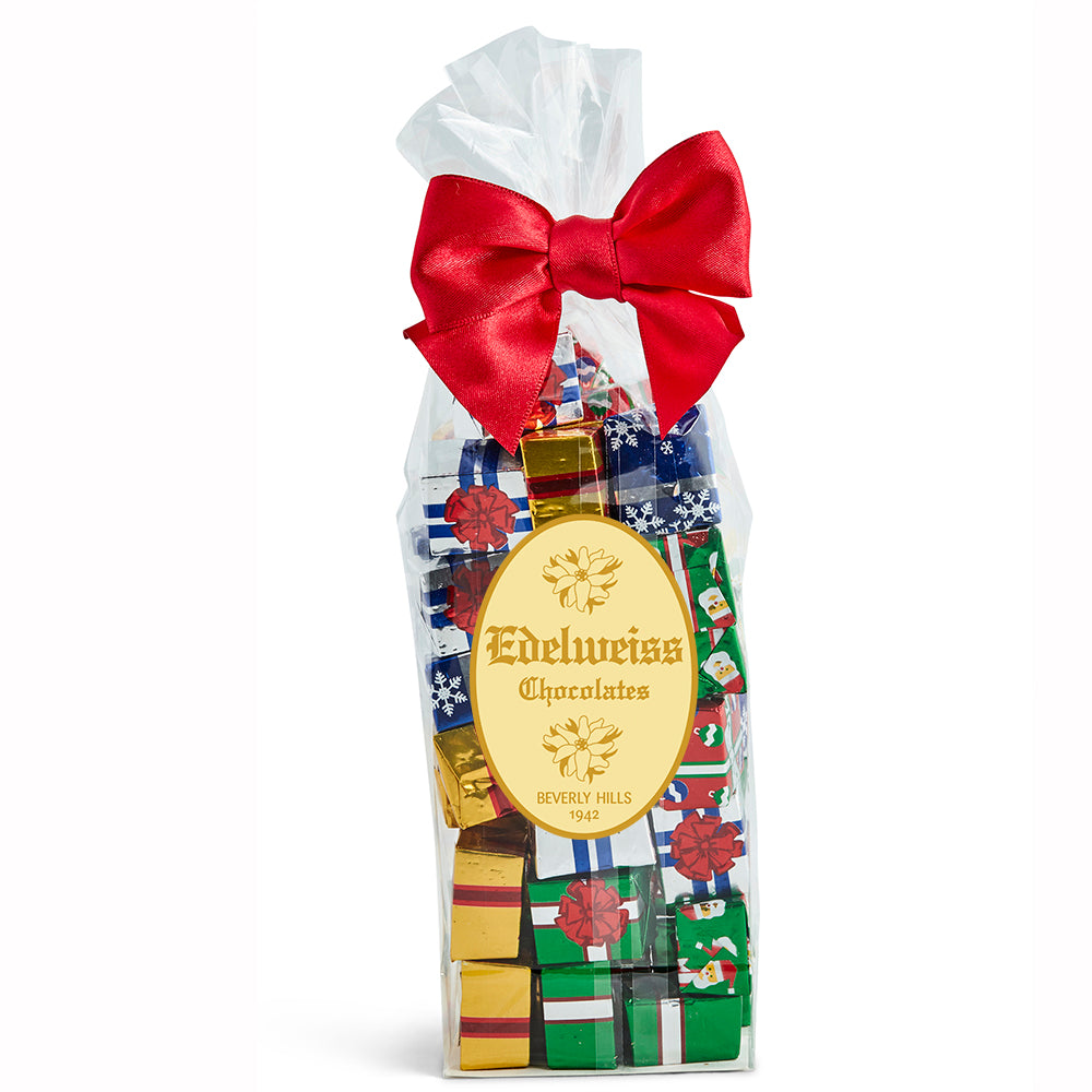 Milk Chocolate Foiled Presents - Edelweiss Chocolates Gourmet Premium Milk Dark Chocolate Gift Los Angeles Beverly Hills Handmade Handcrafted Candy