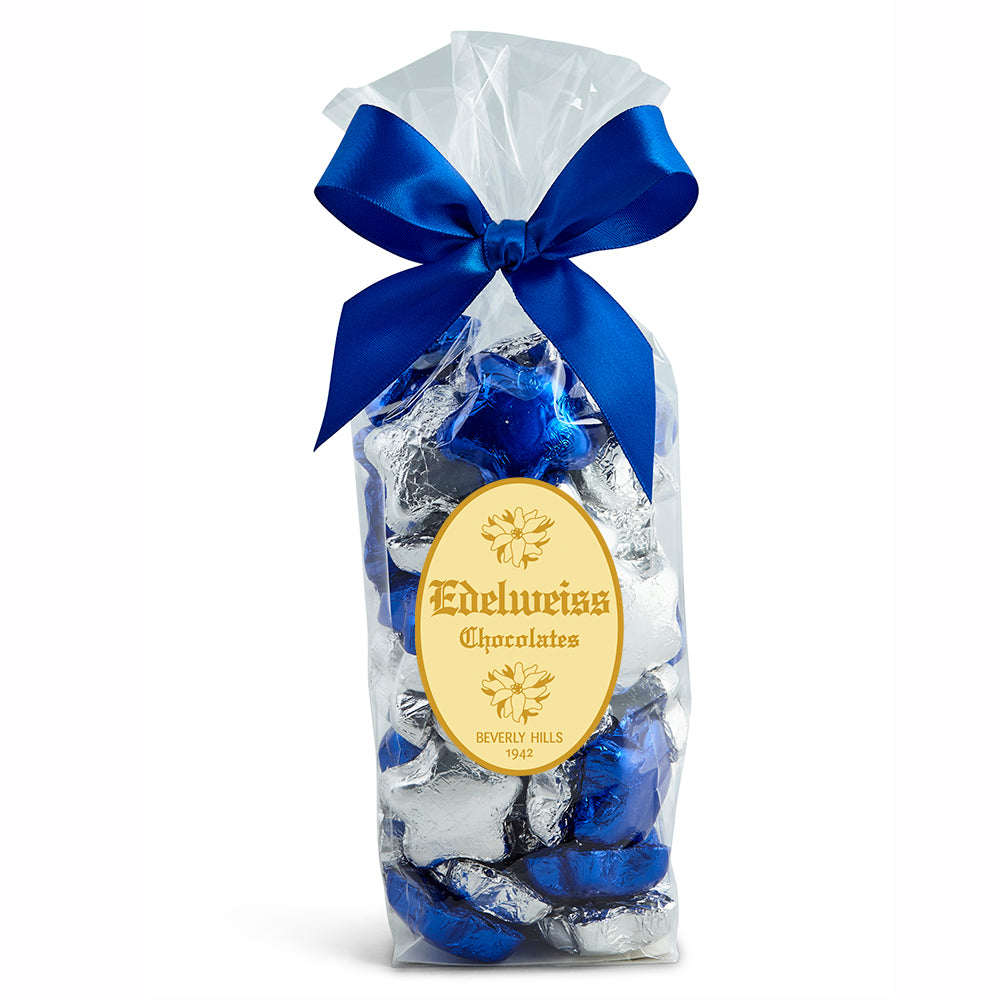 Milk Chocolate Foiled Stars - Edelweiss Chocolates Gourmet Premium Milk Dark Chocolate Gift Los Angeles Beverly Hills Handmade Handcrafted Candy