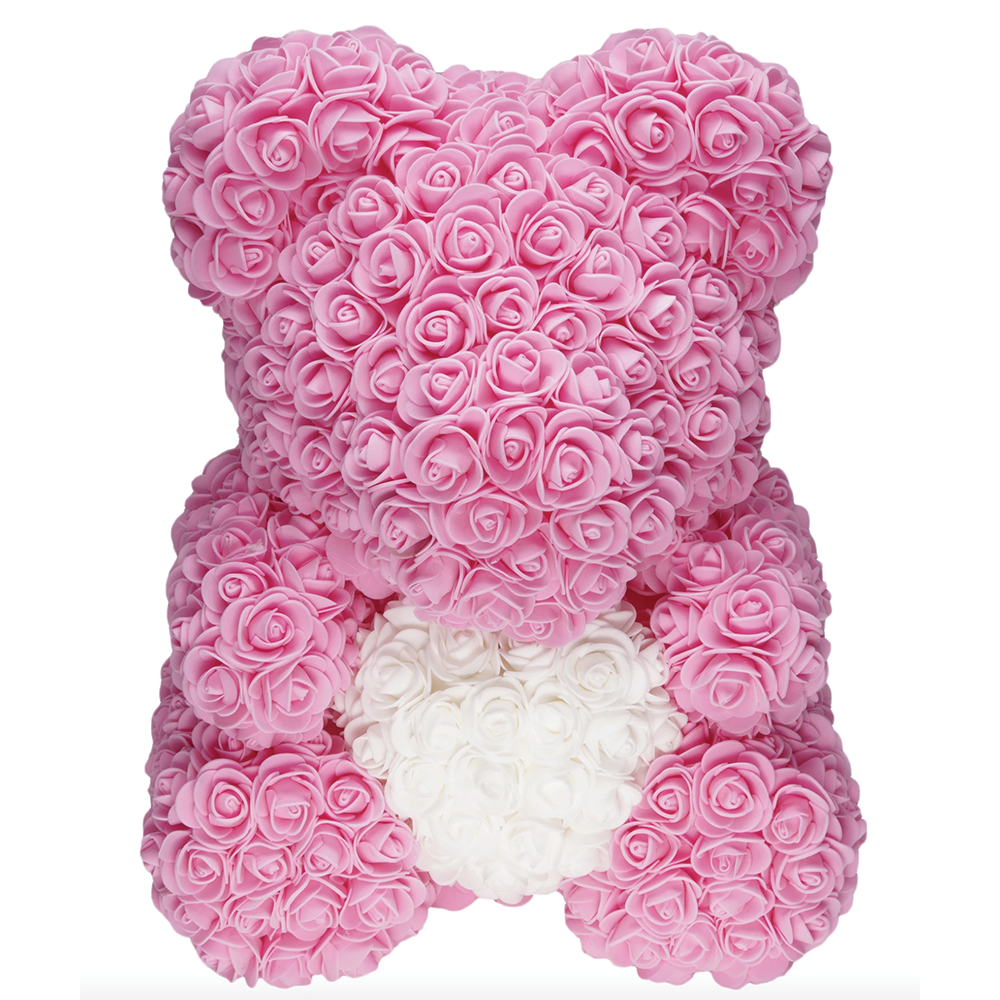 Pink Rose Bear - Edelweiss Chocolates - Gourmet Premium Handmade Chocolates made in Beverly Hills and Los Angeles