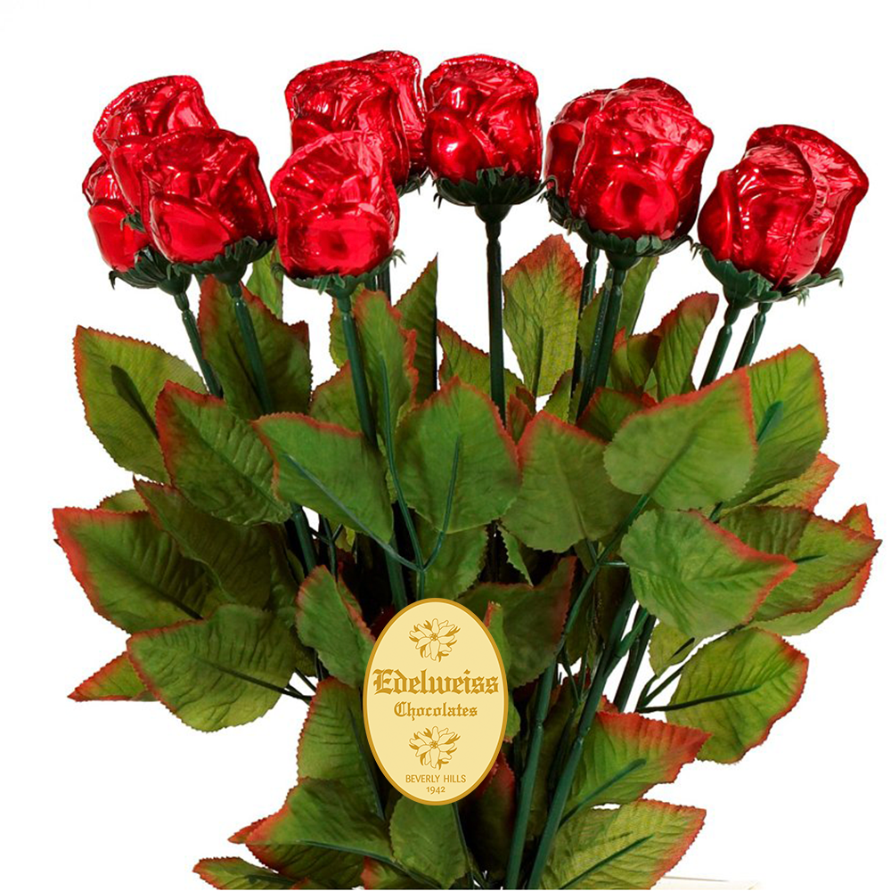 Red Milk Chocolate Roses - Edelweiss Chocolates