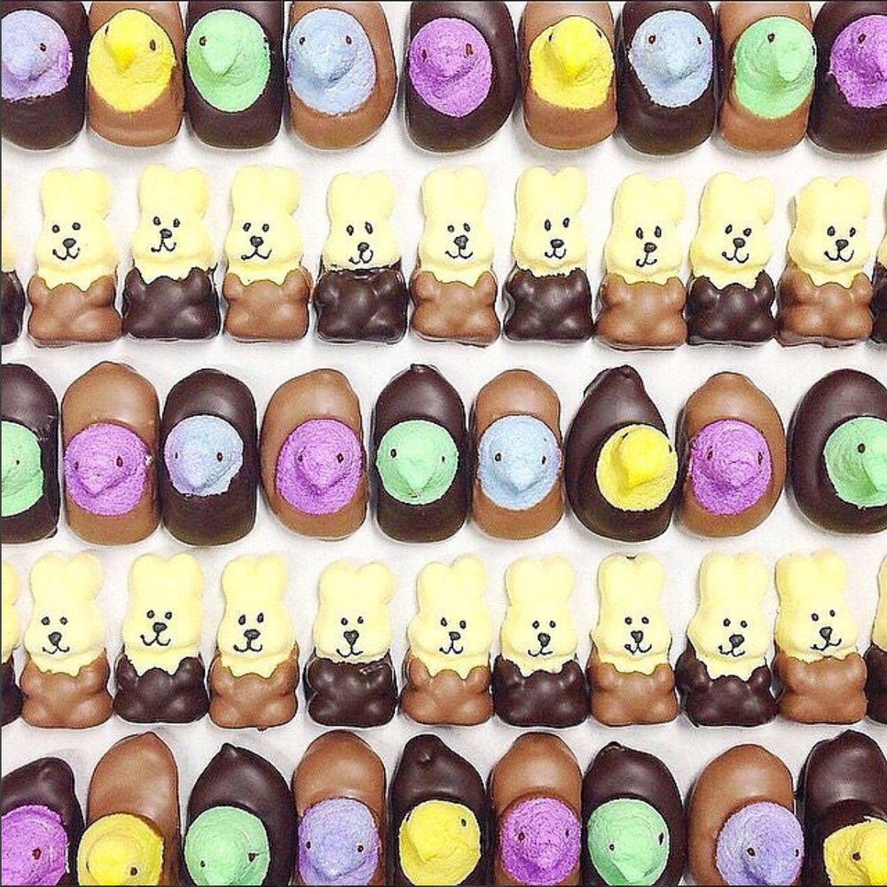 Chocolate Dipped Peeps - Edelweiss Chocolates Gourmet Premium Milk Dark Chocolate Gift Los Angeles Beverly Hills Handmade Handcrafted Candy