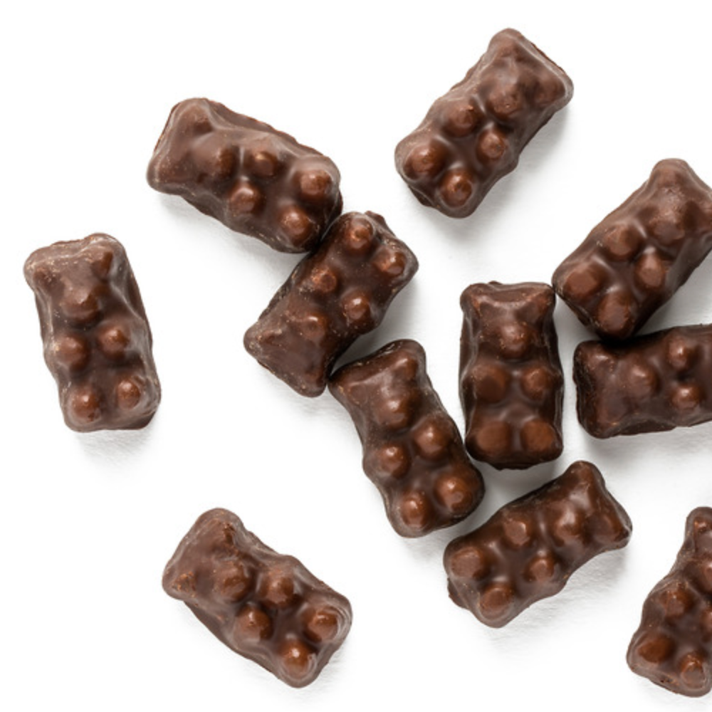 Natural Dark Chocolate Gummy Bears - Edelweiss Chocolates Gourmet Premium Milk Dark Chocolate Gift Los Angeles Beverly Hills Handmade Handcrafted Candy