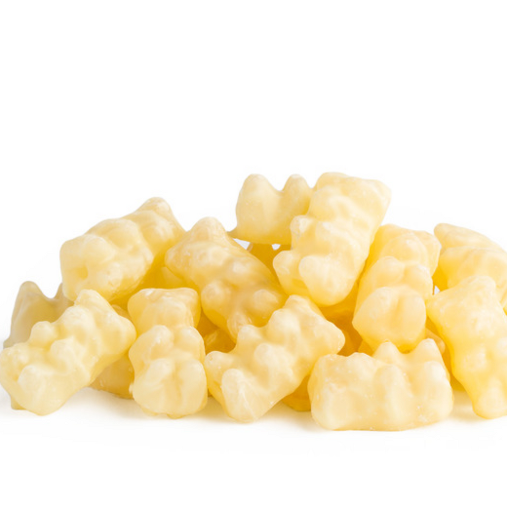 White Chocolate Gummy Bears - Edelweiss Chocolates Gourmet Premium Milk Dark Chocolate Gift Los Angeles Beverly Hills Handmade Handcrafted Candy