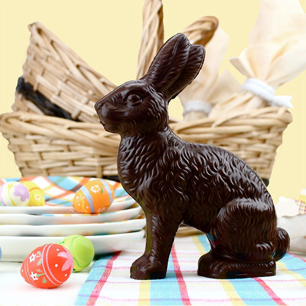Medium Sitting Chocolate Bunny (Hollow) - Edelweiss Chocolates Gourmet Premium Milk Dark Chocolate Gift Los Angeles Beverly Hills Handmade Handcrafted Candy