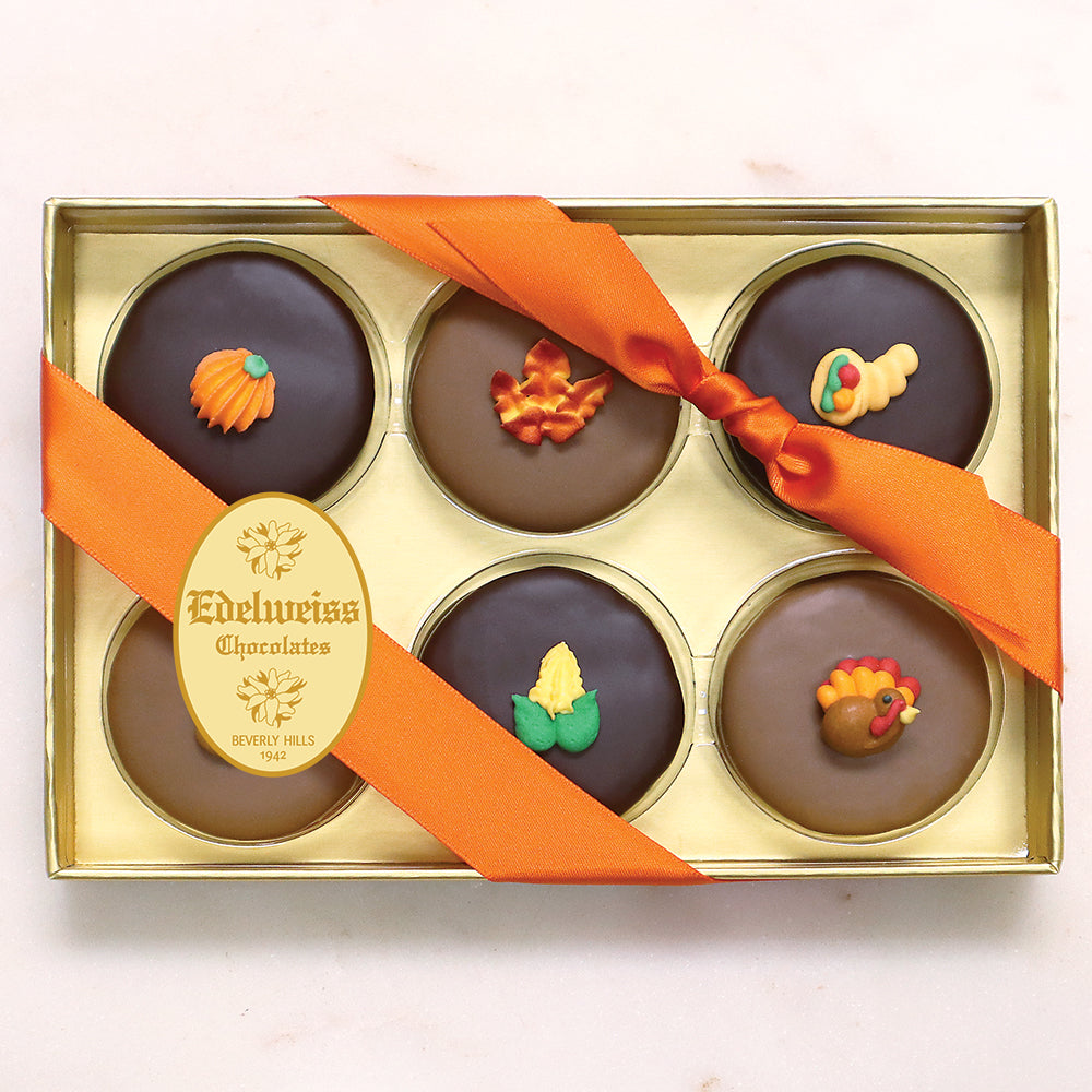 Gourmet Handmade Chocolate Thanksgiving Oreos (6 Piece Gift Box) - Edelweiss Chocolates
