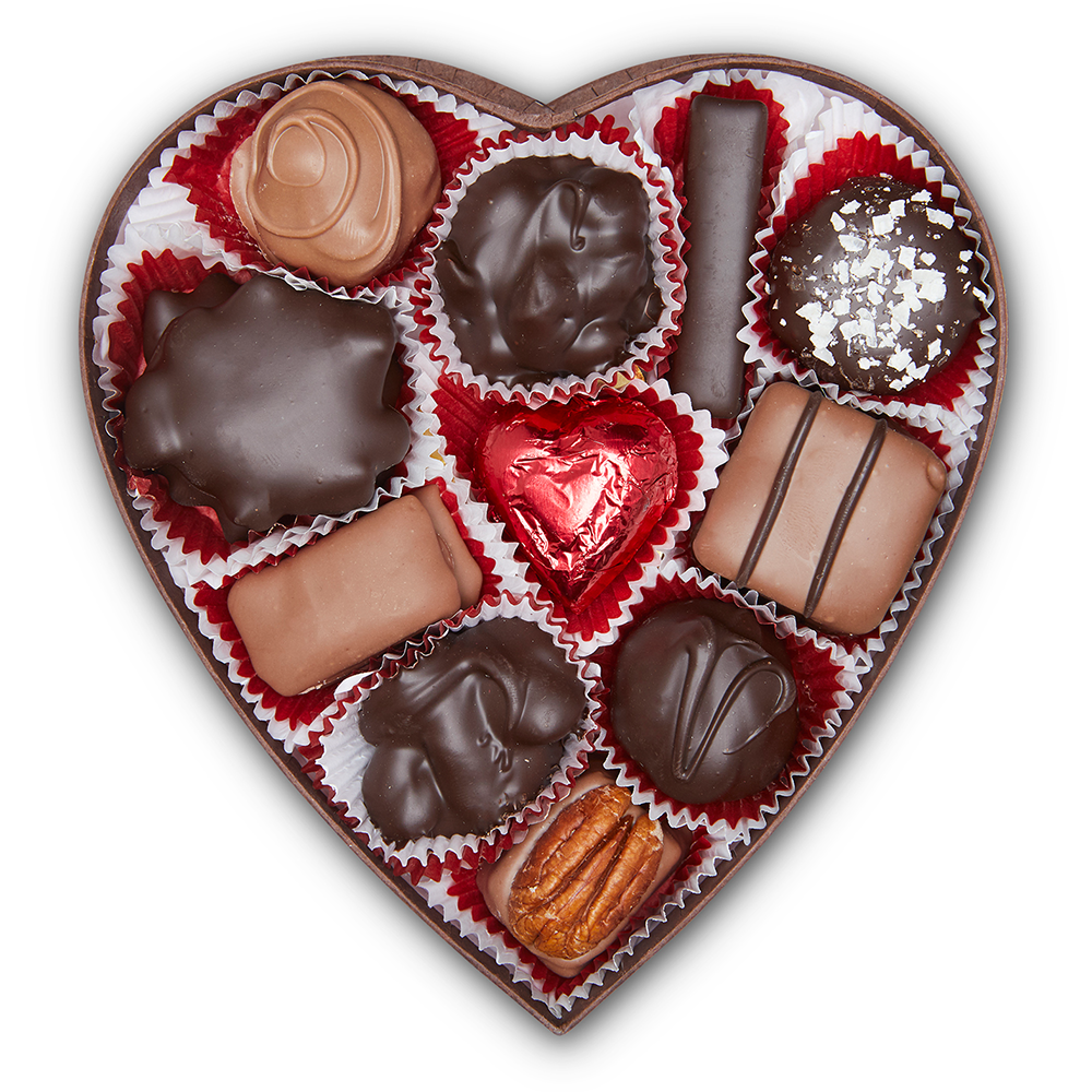 Brown Window Heart Box (8 oz) - Edelweiss Chocolates