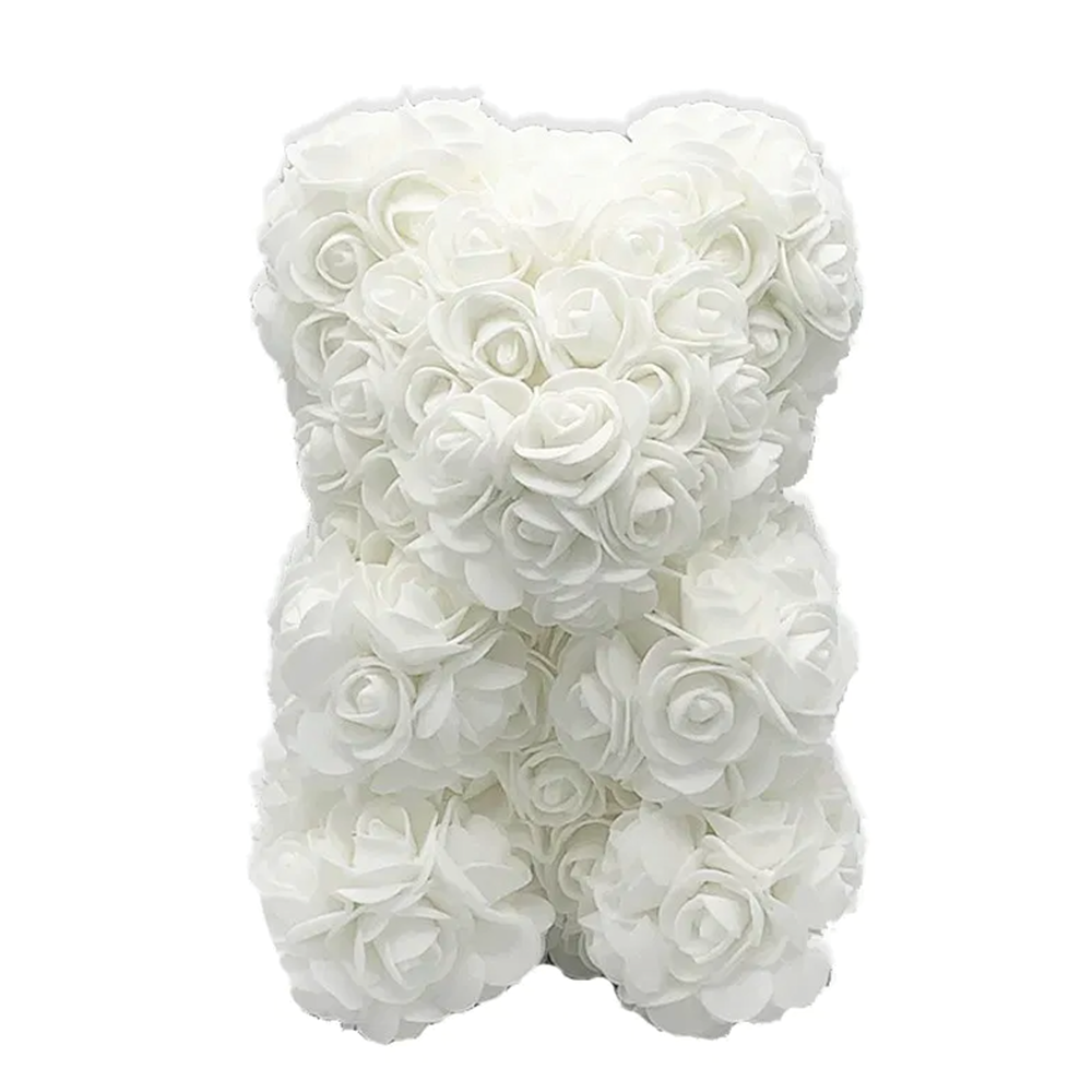 White Rose Bear - Edelweiss Chocolates - Gourmet Premium Handmade Chocolates made in Beverly Hills and Los Angeles