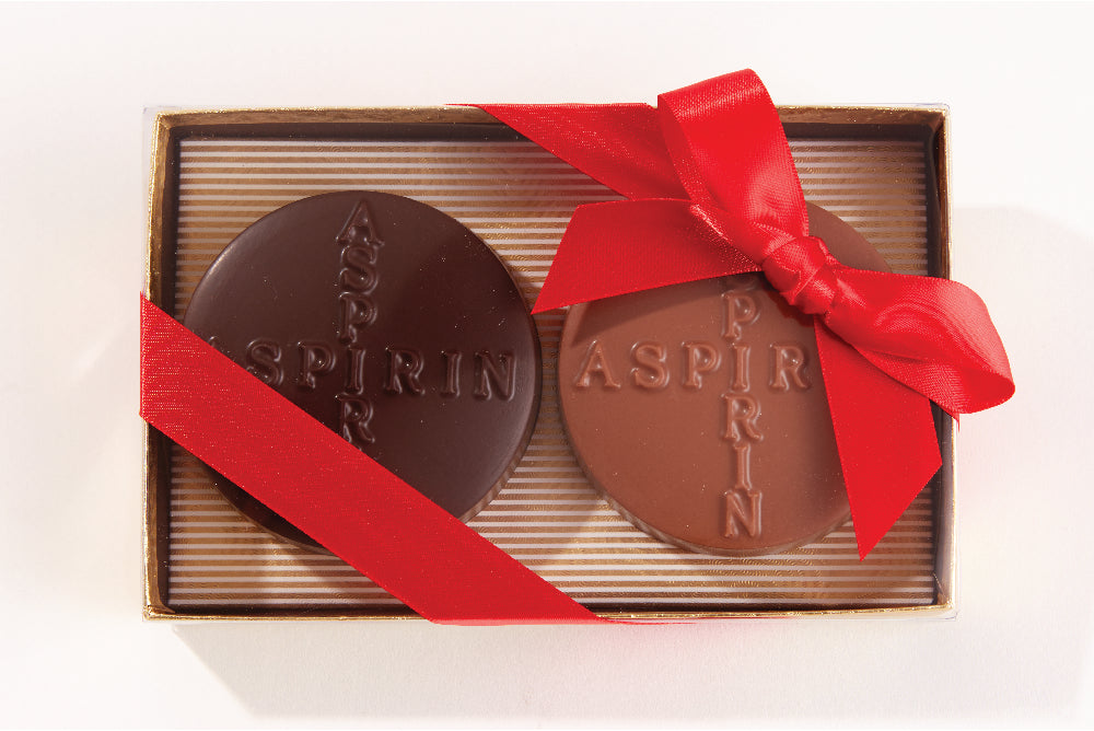 Chocolate Aspirin - Edelweiss Chocolates Gourmet Premium Milk Dark Chocolate Gift Los Angeles Beverly Hills Handmade Handcrafted Candy