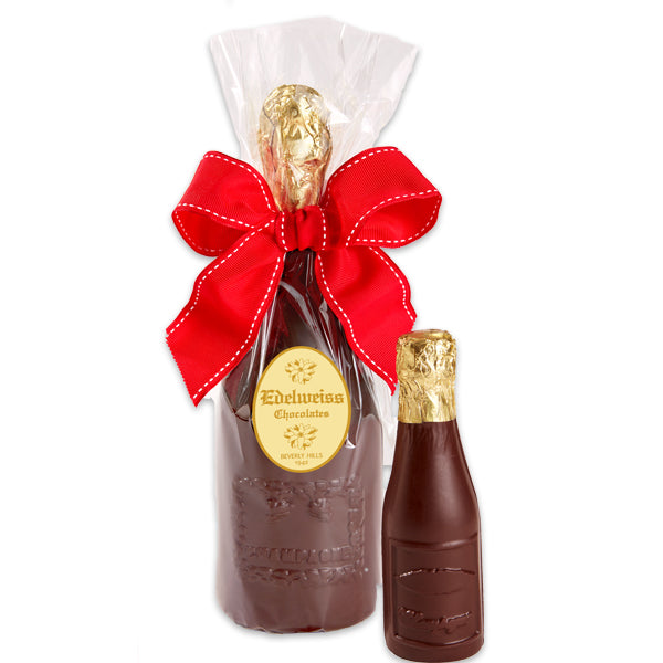 Champagne Bottle Small - Edelweiss Chocolates Gourmet Premium Milk Dark Chocolate Gift Los Angeles Beverly Hills Handmade Handcrafted Candy
