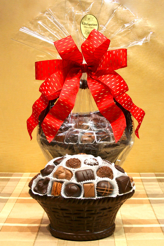 Large Chocolate Basket - Edelweiss Chocolates Gourmet Premium Milk Dark Chocolate Gift Los Angeles Beverly Hills Handmade Handcrafted Candy