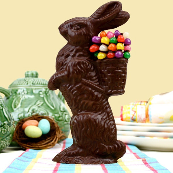 Medium Standing Chocolate Bunny Decorated With Jelly Beans (Solid) - Edelweiss Chocolates Gourmet Premium Milk Dark Chocolate Gift Los Angeles Beverly Hills Handmade Handcrafted Candy