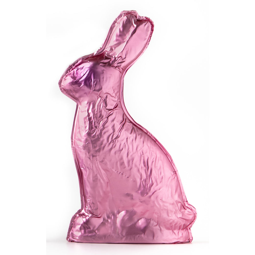 Pink Milk Chocolate Foiled Bunny (15oz) - Edelweiss Chocolates