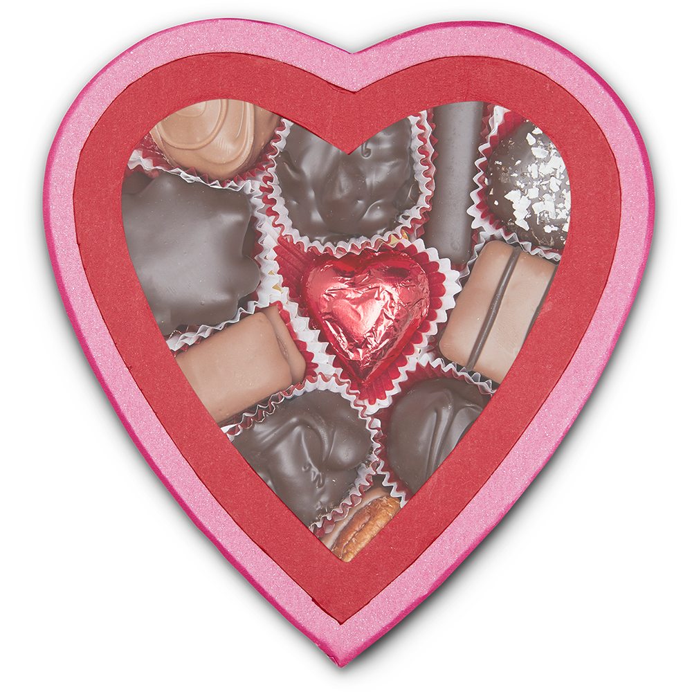 Pink Window Heart Box (8 oz) - Edelweiss Chocolates