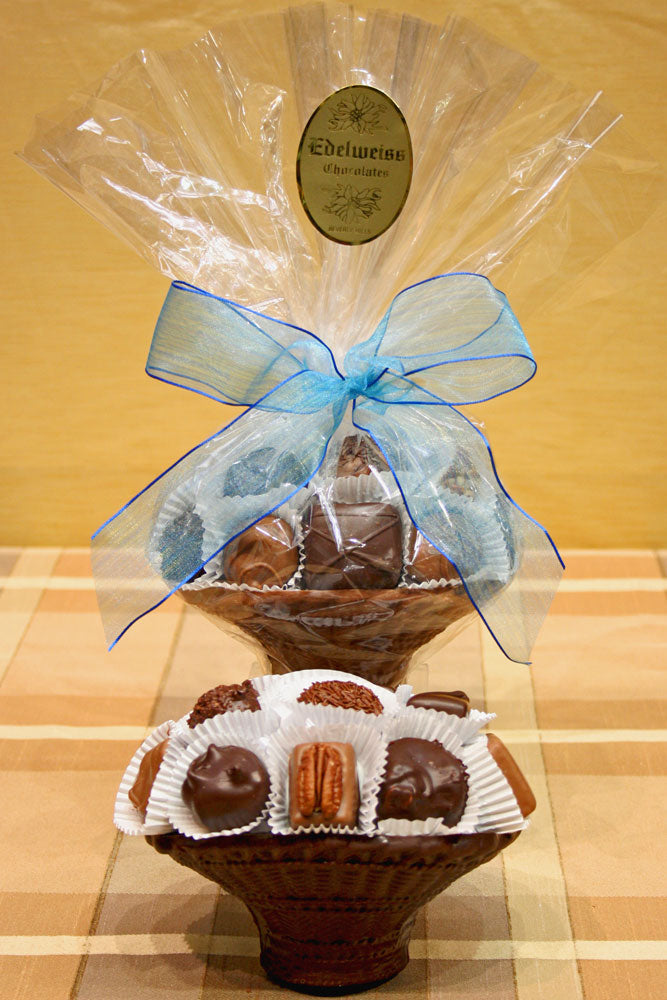 Small Assorted Chocolate Basket - Edelweiss Chocolates Gourmet Premium Milk Dark Chocolate Gift Los Angeles Beverly Hills Handmade Handcrafted Candy