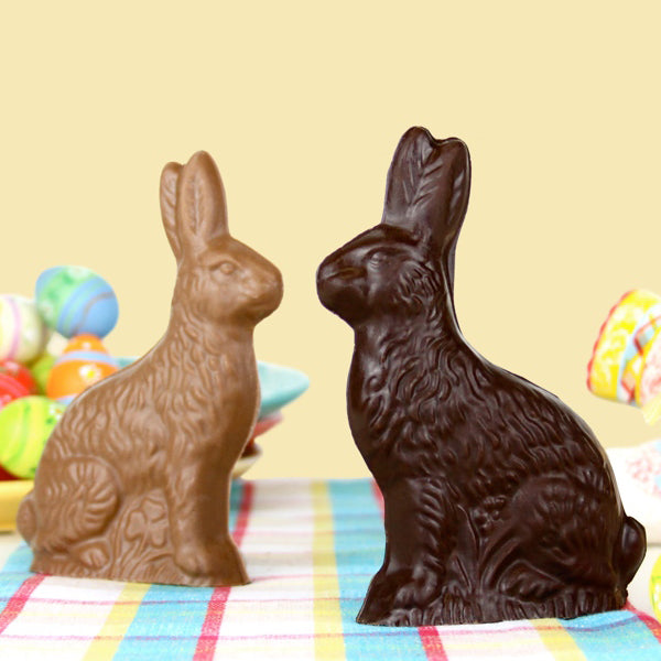 Small Sitting Chocolate Bunny (Solid) - Edelweiss Chocolates Gourmet Premium Milk Dark Chocolate Gift Los Angeles Beverly Hills Handmade Handcrafted Candy