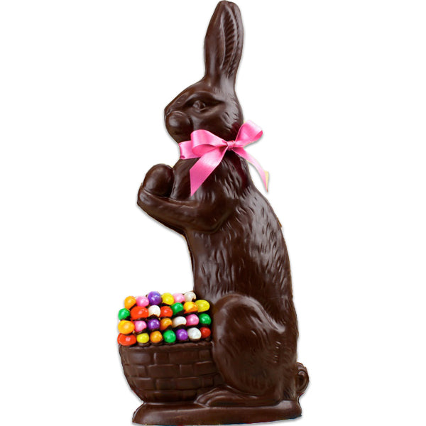 Large Chocolate Bunny Decorated With Jelly Beans (Semi-Solid) - Edelweiss Chocolates Gourmet Premium Milk Dark Chocolate Gift Los Angeles Beverly Hills Handmade Handcrafted Candy