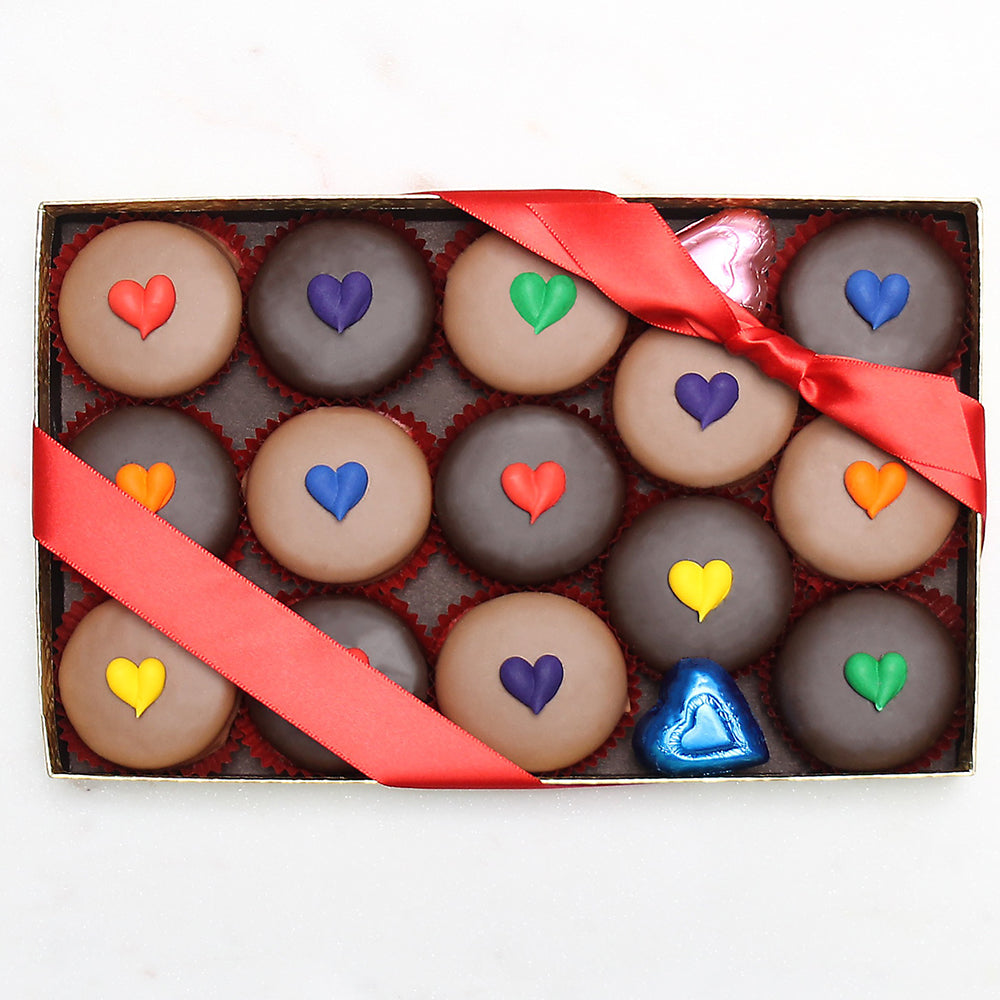Gourmet Handmade Chocolate Oreos With Rainbow Hearts (Large) - Edelweiss Chocolates Gourmet Premium Milk Dark Chocolate Gift Los Angeles Beverly Hills Handmade Handcrafted Candy
