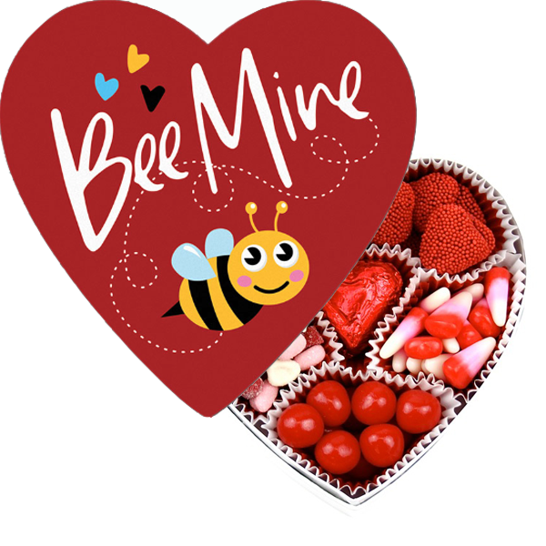 Bee Mine Heart Box filled with Candies (4 oz) - Edelweiss Chocolates