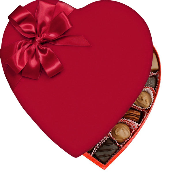 Red Velvet Heart Box (1lb) - Edelweiss Chocolates Gourmet Premium Milk Dark Chocolate Gift Los Angeles Beverly Hills Handmade Handcrafted Candy