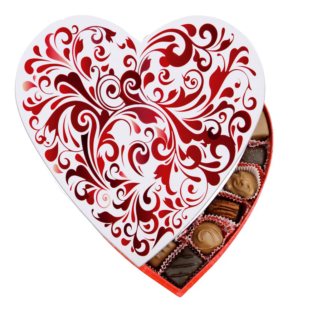 Red Swirl Heart Box (1lb) - Edelweiss Chocolates