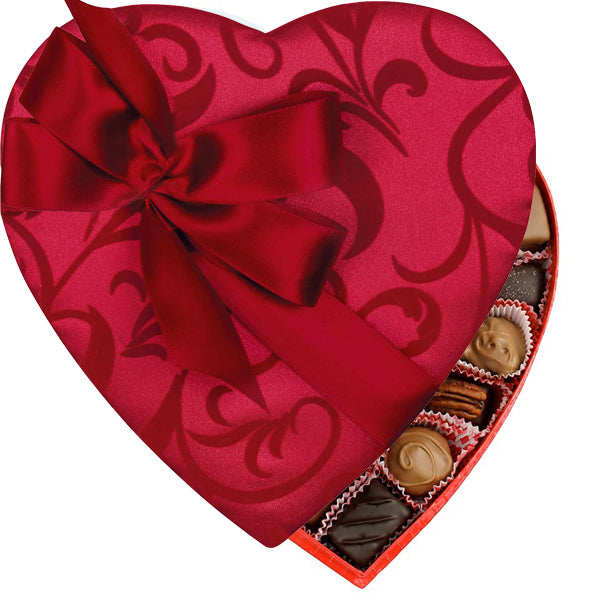 Passion Ivy With Bow Heart Box (1lb) - Edelweiss Chocolates