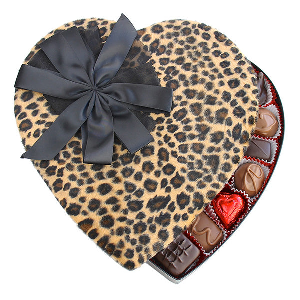 Cheetah Fabric Heart Box - Edelweiss Chocolates Gourmet Premium Milk Dark Chocolate Gift Los Angeles Beverly Hills Handmade Handcrafted Candy