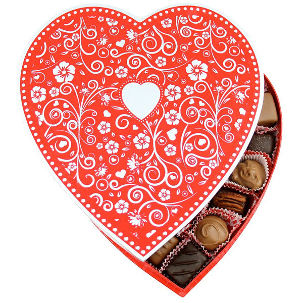 Embossed Silver Heart Box (1lb) - Edelweiss Chocolates