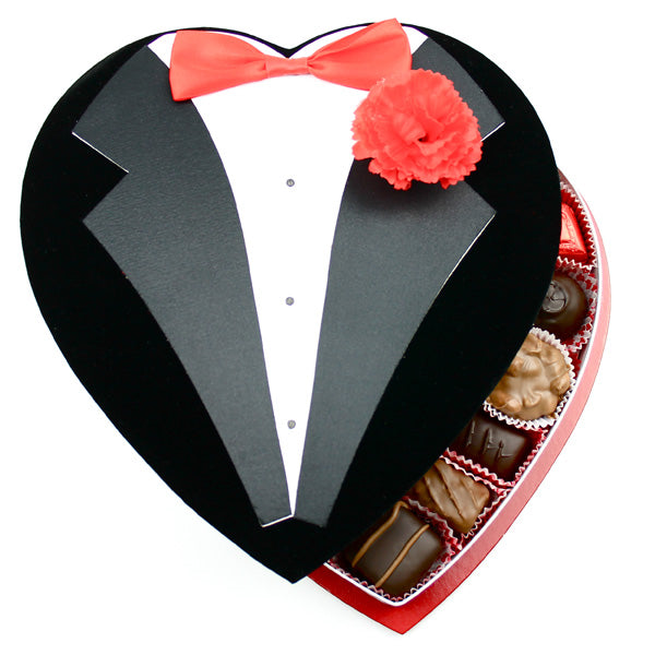 Black Tux With Tie Fabric Heart Box - Edelweiss Chocolates Gourmet Premium Milk Dark Chocolate Gift Los Angeles Beverly Hills Handmade Handcrafted Candy