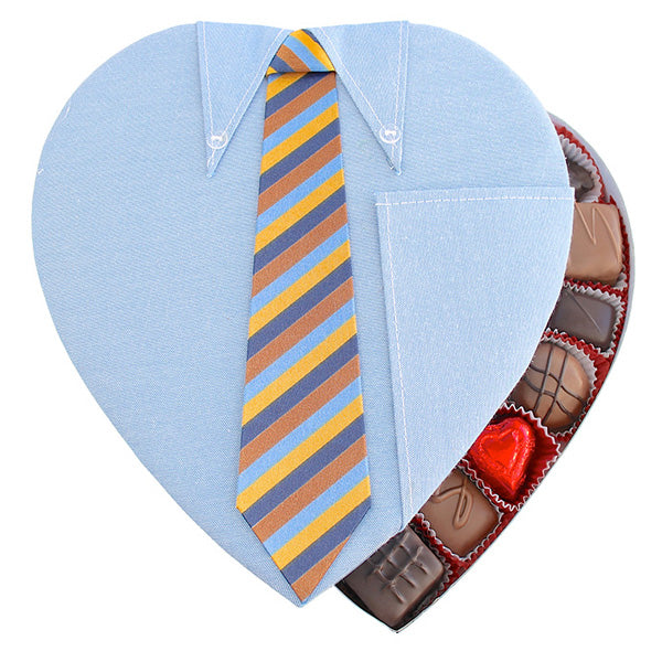 Shirt With Tie Fabric Heart Box - Edelweiss Chocolates Gourmet Premium Milk Dark Chocolate Gift Los Angeles Beverly Hills Handmade Handcrafted Candy
