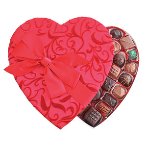 Passion Ivy With Bow Fabric Heart Box - Edelweiss Chocolates Gourmet Premium Milk Dark Chocolate Gift Los Angeles Beverly Hills Handmade Handcrafted Candy