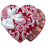 Red Damask Fabric Heart Box (1.5 lb) - Edelweiss Chocolates