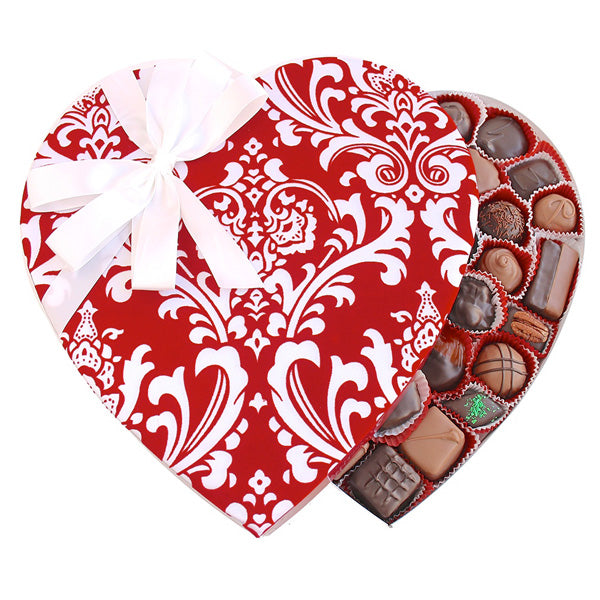 Damask Fabric Heart Box (2 pound) - Edelweiss Chocolates