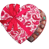 Pink & White Paisley Fabric Heart Box (1.5 lb) - Edelweiss Chocolates