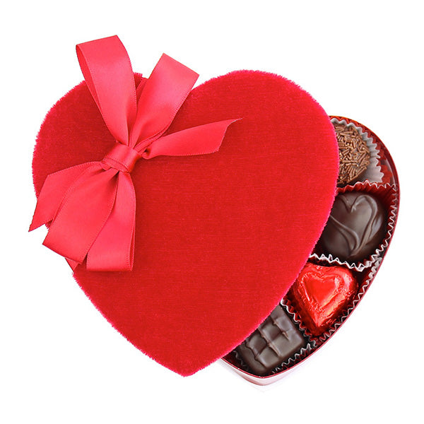 Red Velvet Heart Box (4 oz) - Edelweiss Chocolates