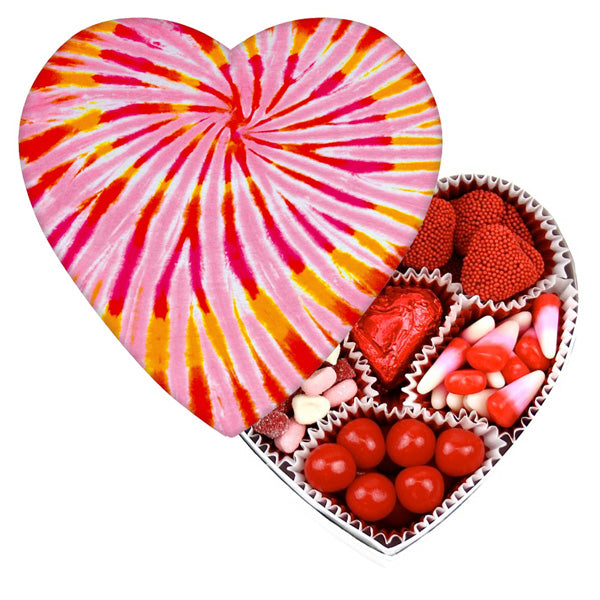 Tie Dye Heart Box - Edelweiss Chocolates Gourmet Premium Milk Dark Chocolate Gift Los Angeles Beverly Hills Handmade Handcrafted Candy