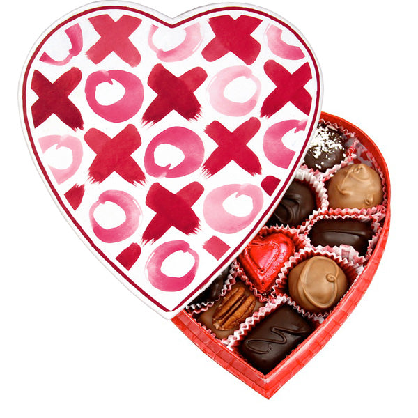 XOXO Heart Box (8 oz) - Edelweiss Chocolates Gourmet Premium Milk Dark Chocolate Gift Los Angeles Beverly Hills Handmade Handcrafted Candy