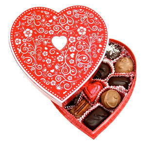 Silver Embossed Heart Box (8 oz) - Edelweiss Chocolates