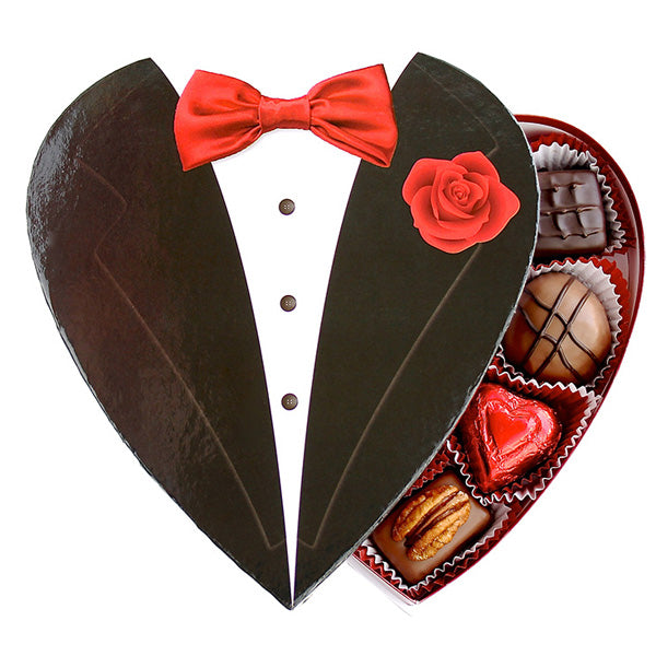 Printed Tux Heart Box - Edelweiss Chocolates Gourmet Premium Milk Dark Chocolate Gift Los Angeles Beverly Hills Handmade Handcrafted Candy