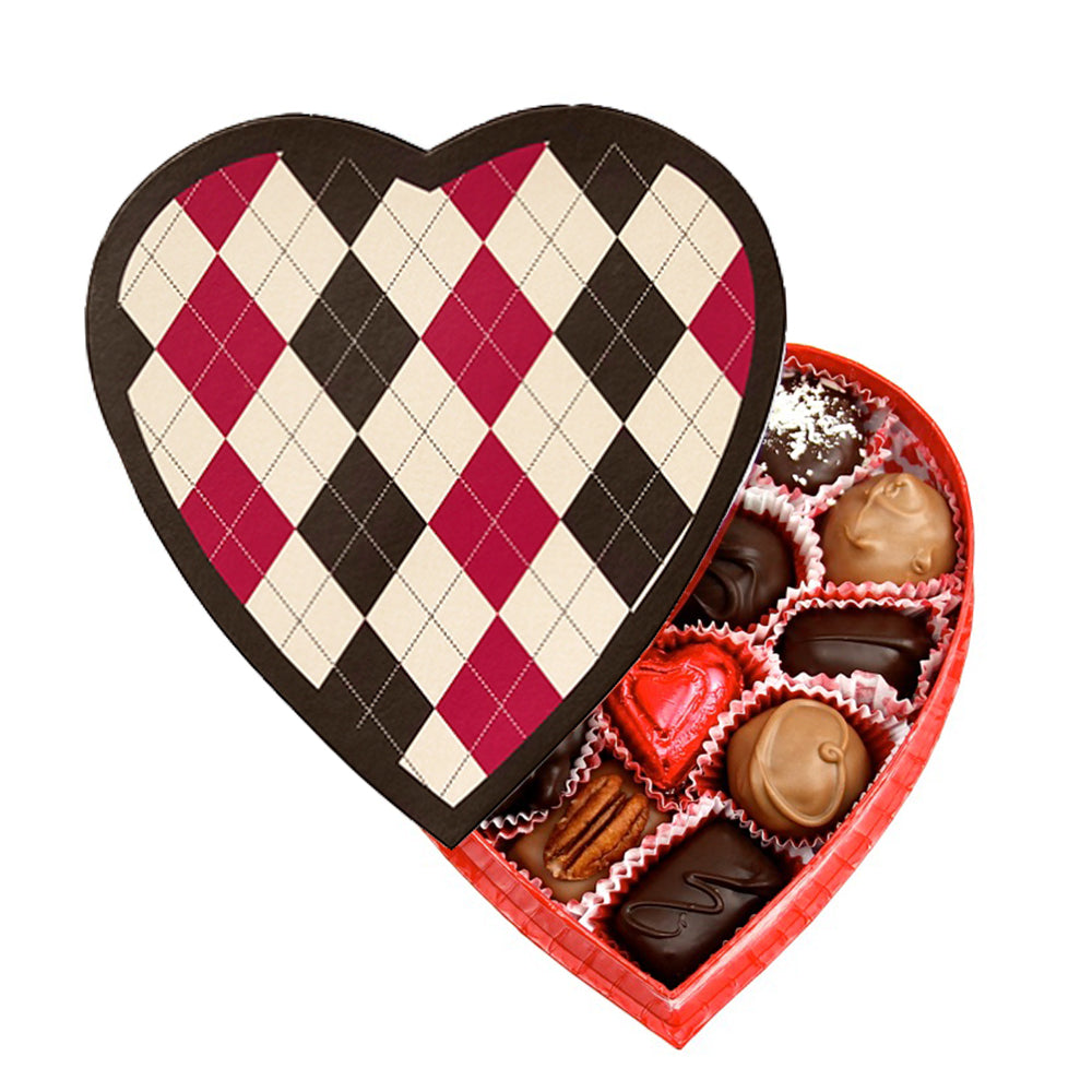Argyle Heart Box (8 oz) - Edelweiss Chocolates