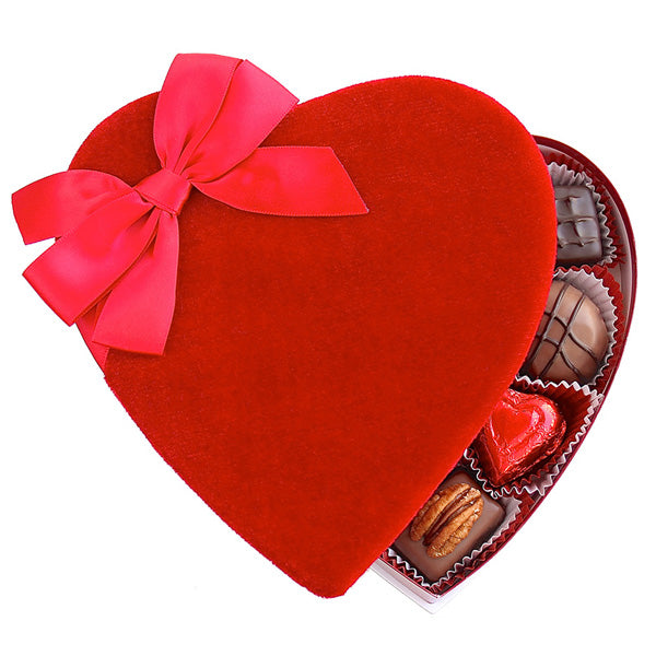 Red Velvet Heart Box (8 oz) - Edelweiss Chocolates
