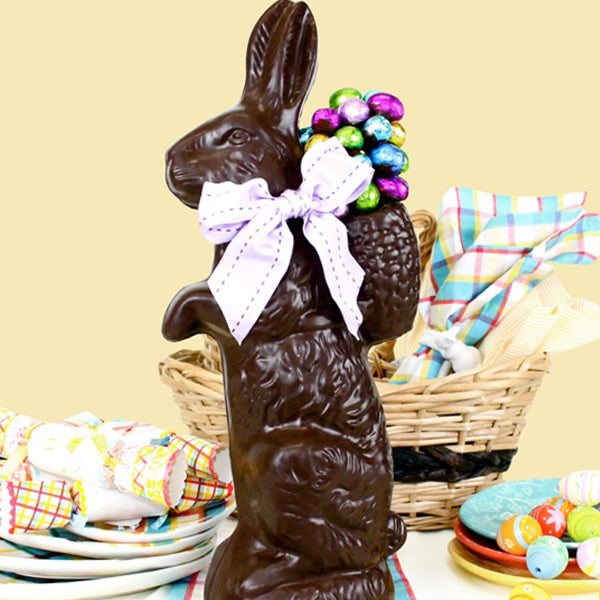 Extra Large Chocolate Bunny Decorated With Chocolate Foiled Eggs (Semi-Solid) - Edelweiss Chocolates Gourmet Premium Milk Dark Chocolate Gift Los Angeles Beverly Hills Handmade Handcrafted Candy