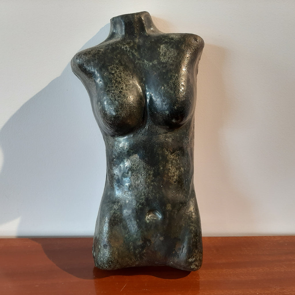 Raku Fired Woman's Torso Wall Decor