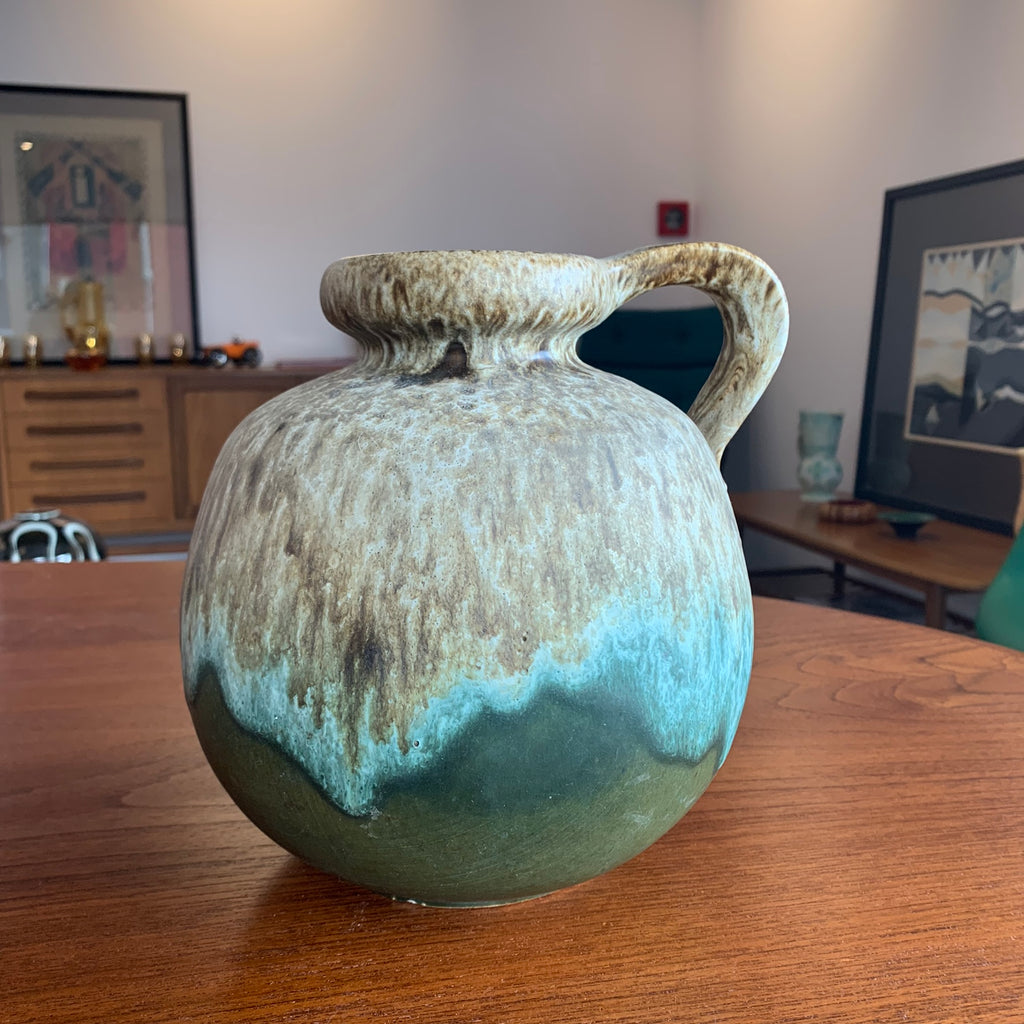 1960's German Vase Green/Brown Lava Glaze