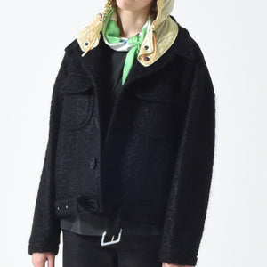 Wool Mohair Belted Jacket - Black