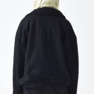 🔖 Wool Mohair Belted Jacket - Black